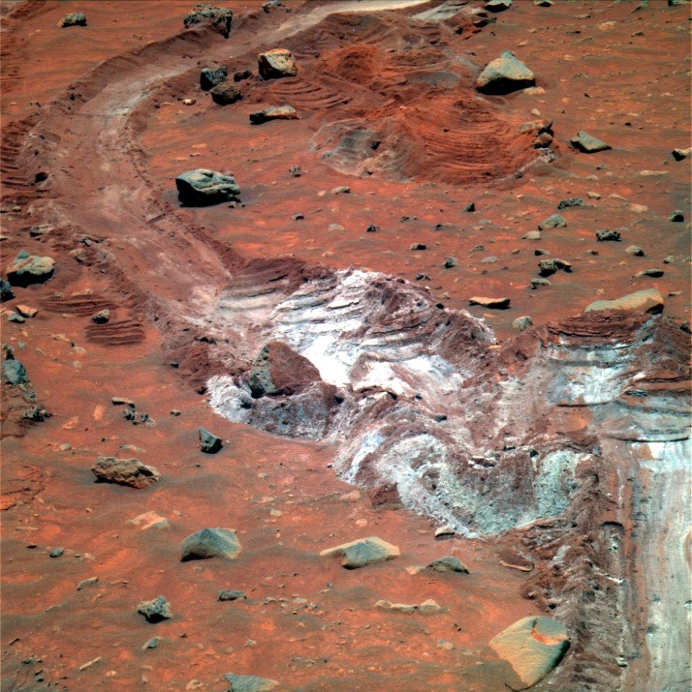 Spirit's Tracks in Martian Soil