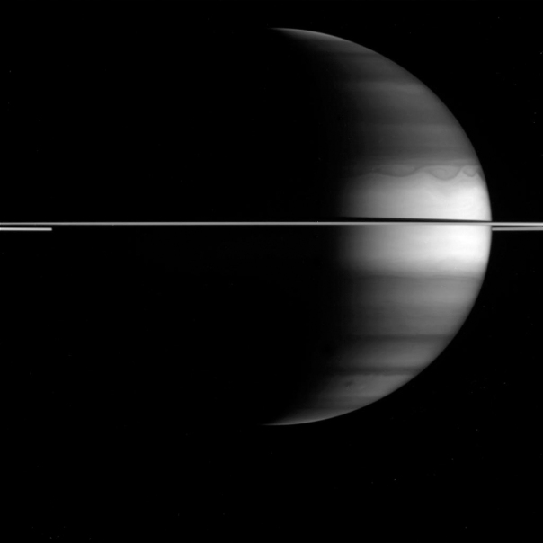Saturn as seen through a methane filter