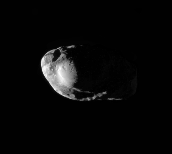 Cassini's view of Prometheus during a close pass (NASA/JPL/SSI. Edit by Jason Major.)