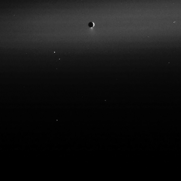 Enceladus may be spraying an ocean into space (NASA/JPL/SSI)