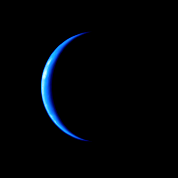 Earth's crescent taken by the departing Akatsuki's ultraviolet imager (JAXA)