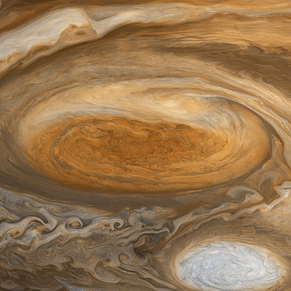 Image of Jupiter's Great Red Spot from Voyager 1, 1979 data. Edited by Björn Jónsson.