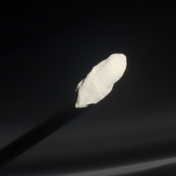 Prometheus casts a shadow through smoky F-ring particles