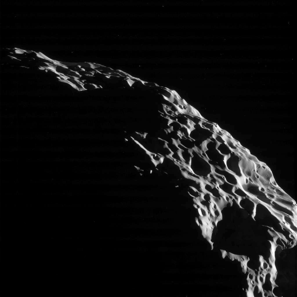 Cassini Spacecraft Sees Saturns Moon Hyperion One Last