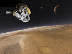 Artist's impression of New Horizons' encounter with Pluto in 2015. (NASA/Thierry Lombry)