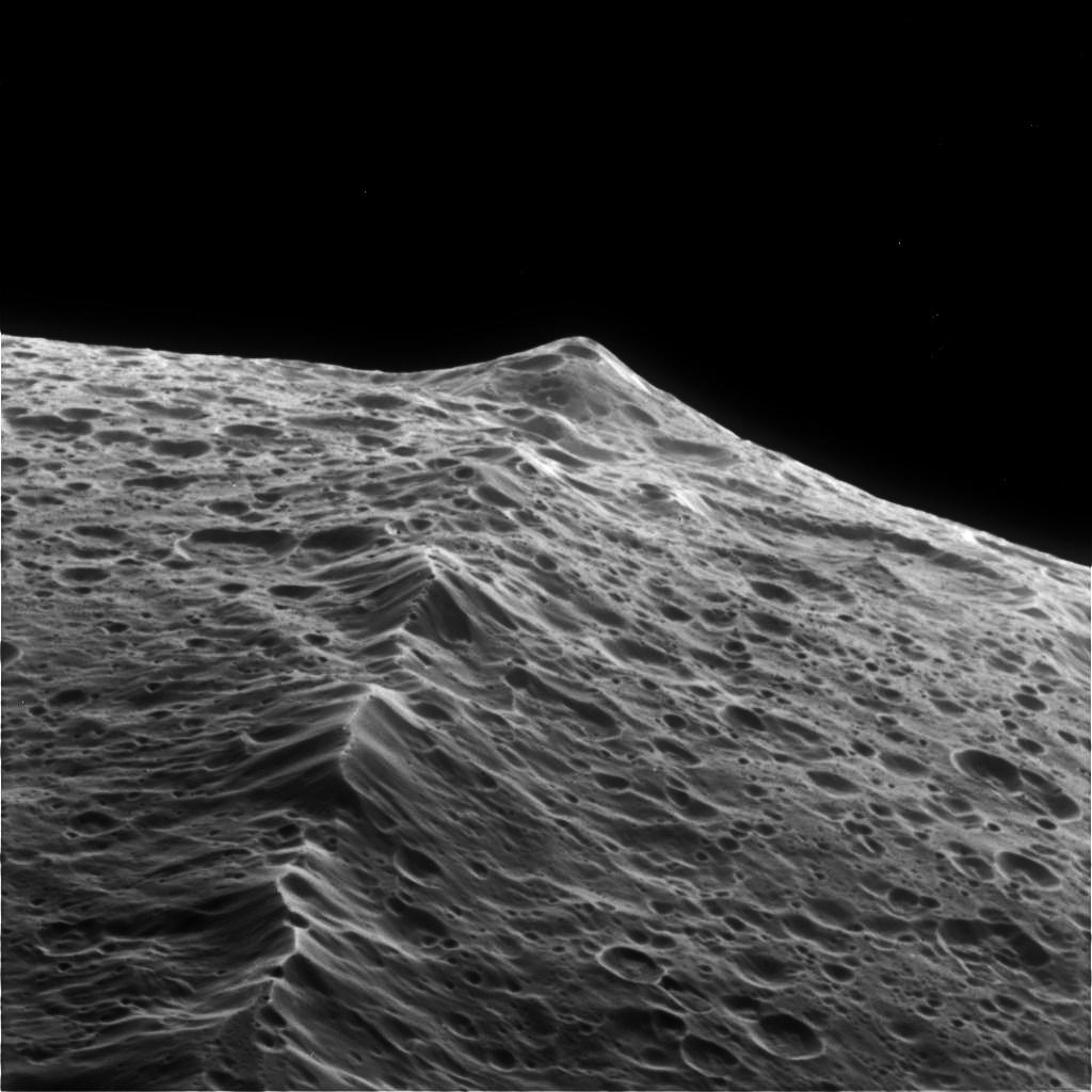 20-km tall central ridge of Iapetus  a k a  the Voyager MountainsIapetus