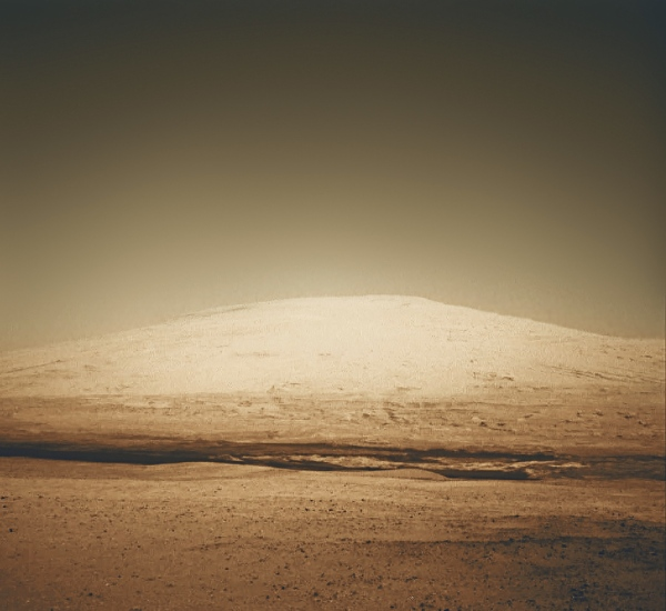 Colorized image of Mount Sharp from Curiosity's Navcam
