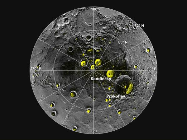 Radar image of Mercury's north polar region from Image 2.1 is shown superposed on a mosaic of MESSENGER images of the same area.