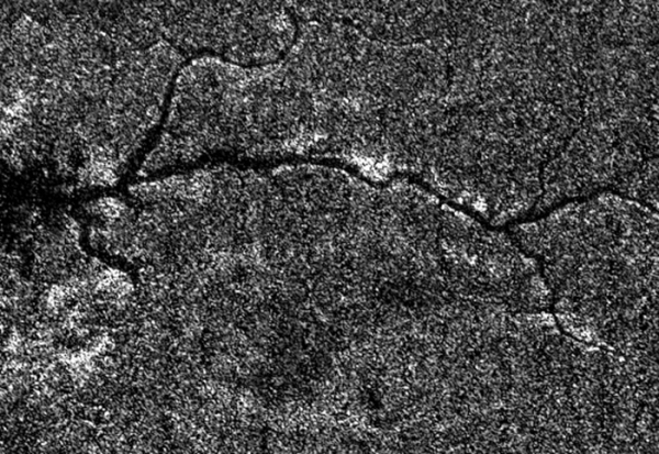 Radar image of Titan's surface from Cassini. North is left. (NASA/JPL/SSI)