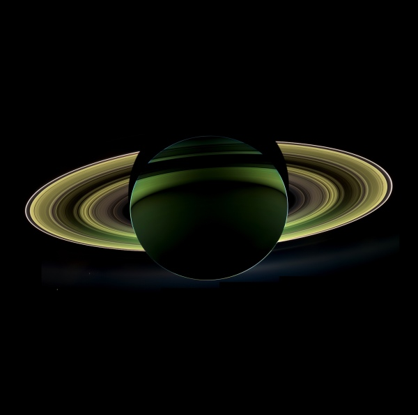 Mosaic of a backlit Saturn, made from 60 Cassini images acquired on October 12, 2012.