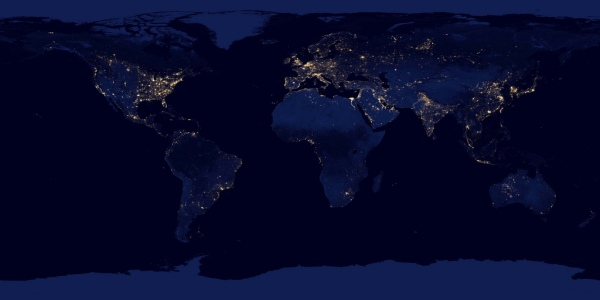 Full world map projection of Suomi NPP nighttime images
