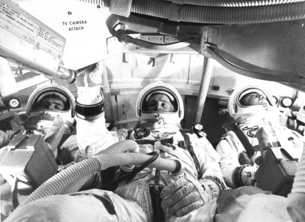 The Apollo 1 prime crew during a test on Jan. 19, 1967, just 8 days before the tragic fire that claimed their lives. (NASA)