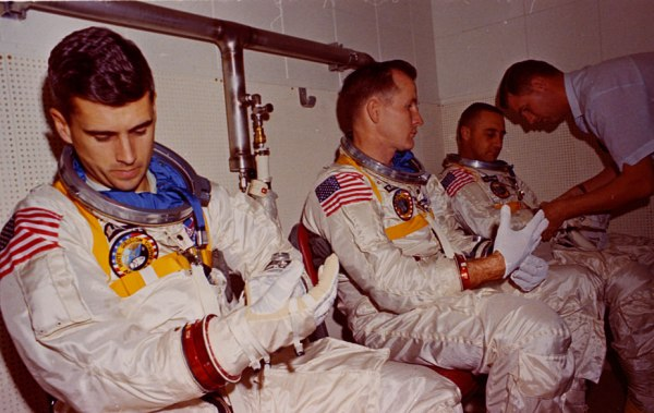 The Apollo 1 primary crew rides in the transport van to a test on Jan. 25, 1967 (NASA/J.L. Pickering)