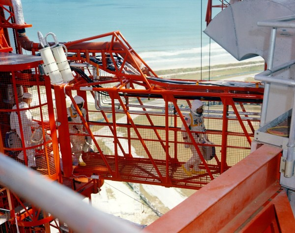 The crew crossing the gantry to the Apollo 1 command module on Jan. 27, 1967 (NASA)