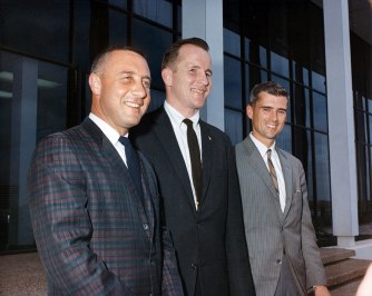 Grissom, White and Chaffee pose for an informal portrait (NASA/Ed Hengeveld)