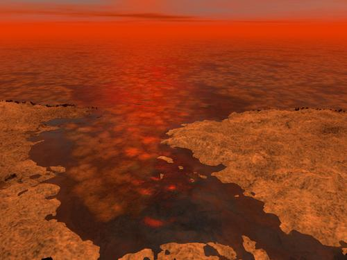 Artist's rendering of an ice-covered lake surface on Titan (NASA/JPL-Caltech/USGS)