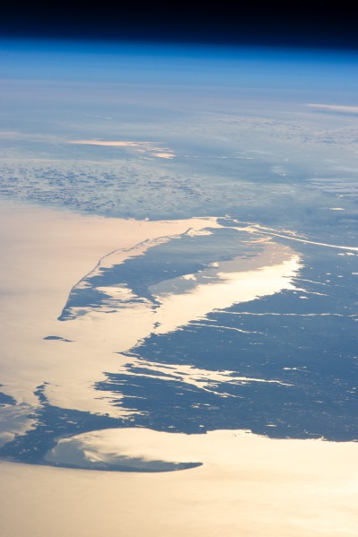 Photo of southern New England and Long Island captured from the ISS on 14 Feb. 2013 (NASA)