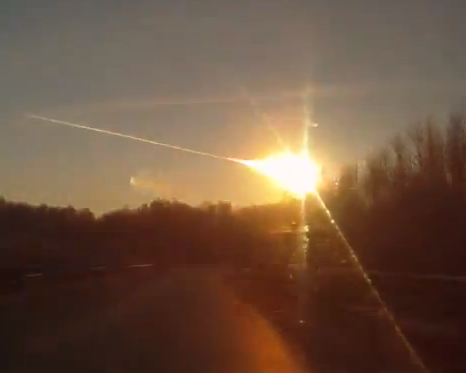 A meteor disintegrates over Russia on Feb. 15, 2013