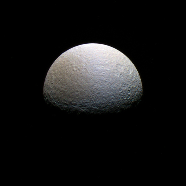Polar view of Rhea made from raw Cassini images taken on March 9, 2013. (NASA/JPL/SSI/J. Major)