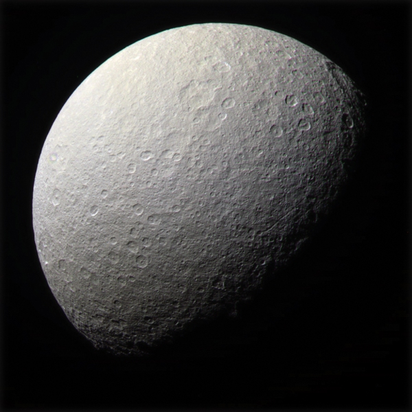 Color-composite of Rhea (NASA/JPL/SSI/J. Major)