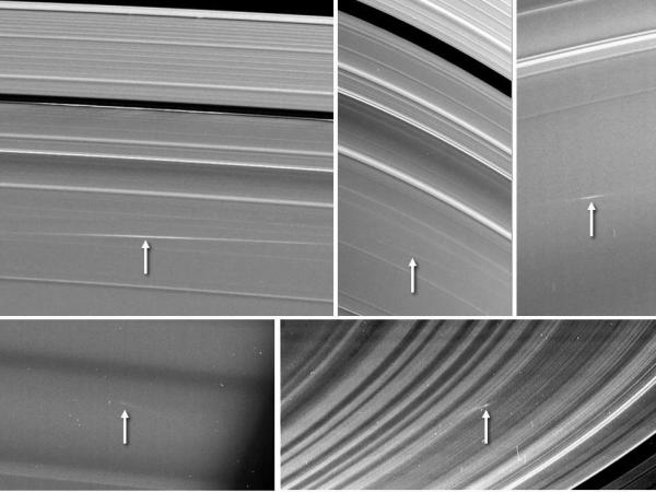 Five images of Saturn's rings, taken by NASA's Cassini spacecraft between 2009 and 2012, show clouds of material ejected from impacts of small objects into the rings. (NASA/JPL-Caltech/SSI)