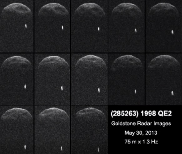 Goldstone radar images of 1998 QE2 shows an orbiting moon (NASA)