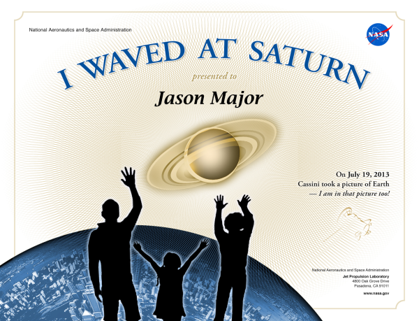 You can get a printable certificate saying that you waved!