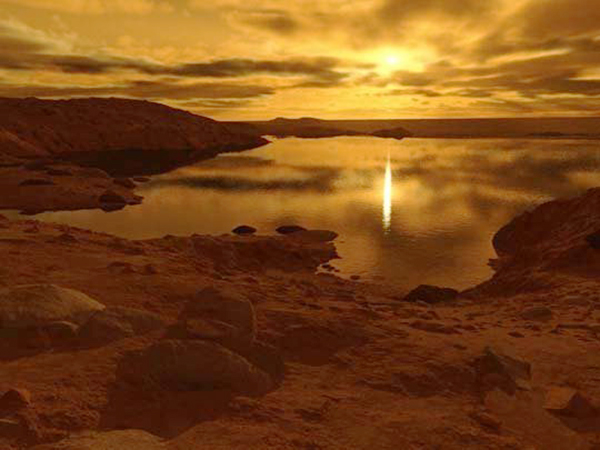 Sunrise above a liquid methane lake on Titan. © Ron Miller. All rights reserved.