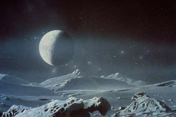 Artist's impression of Pluto's surface with Charon in its permanent spot in the sky. (NASA)