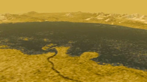 Radar imaging of Titan has revealed large lakes and rivers of methane (NASA/JPL-Caltech/USGS)