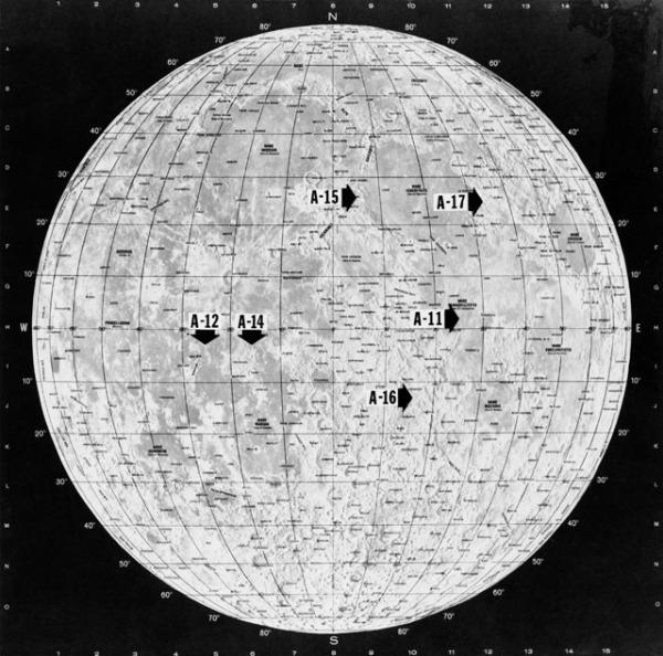Map circa 1972 showing the Apollo landing sites (NASA)