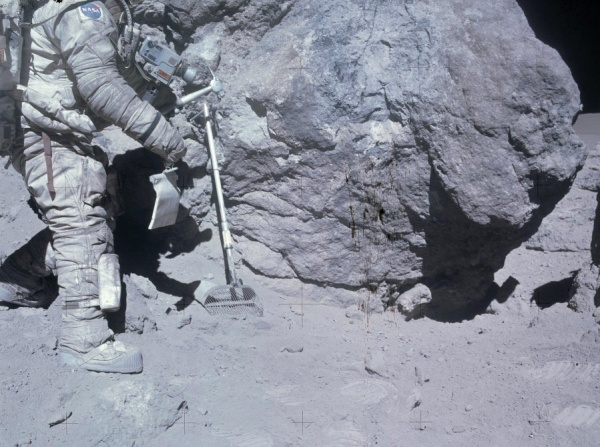 Apollo astronauts found that the lunar dust was clingy, sharp, irritating stuff... and it smelled like gunpowder. (Apollo 16 image)
