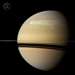 "Saturn's ""Great Northern Storm"" of 2011. It dredged up material from deep within Saturn's atmosphere via powerful convection currents, similar to thunderstorms on Earth."
