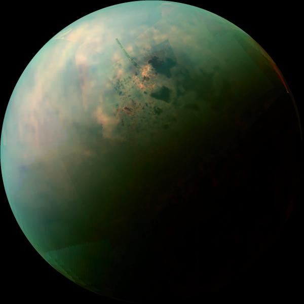 Near-infrared mosaic image from Cassini of Titan's north polar region (NASA/JPL/SSI)