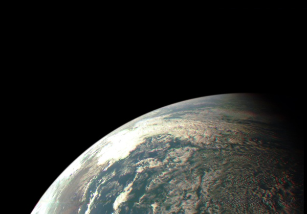 Color-composite image of Earth as seen by NASA's Juno spacecraft on Oct. 9, 2013 (NASA/JPL/MSSS. Edited by J. Major)