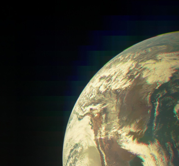 Merged RGB image of Earth taken during the Oct. 9 flyby with JunoCam (NASA/JPL/MSSS)