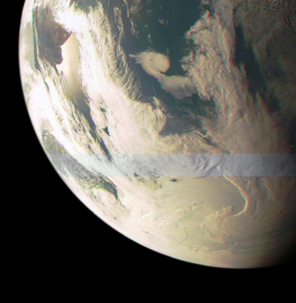 Color-composite image of Earth from NASA's Juno spacecraft on Oct. 9, 2013 (NASA/JPL/MSSS. Edited by J. Major)
