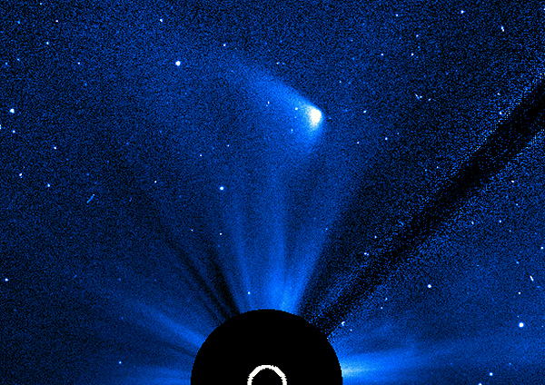 Strongly-adjusted SOHO LASCO C3 image of ISON's remains as of Nov. 29 at 17:30 UT (2:30 pm EST)