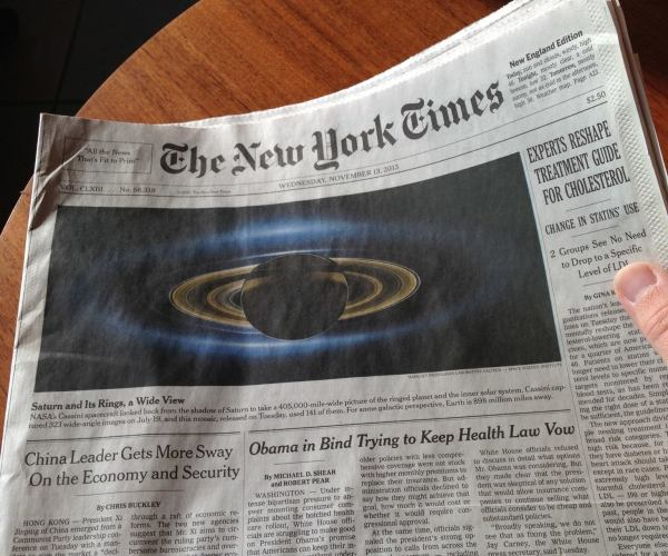 Cassini's image of Saturn makes the NY Times front page