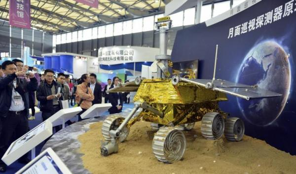 Model of the Yutu rover at the China International Industry Fair in Shanghai, on Nov. 5, 2013. (Reuters)