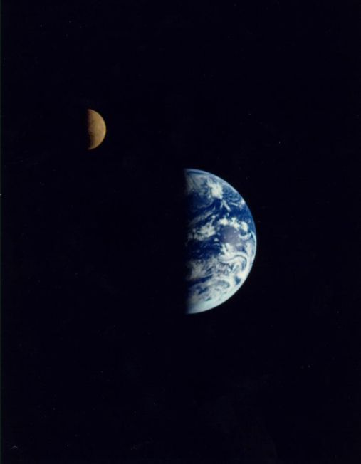 Earth and the Moon from Galileo, Dec. 16, 1992 (NASA)