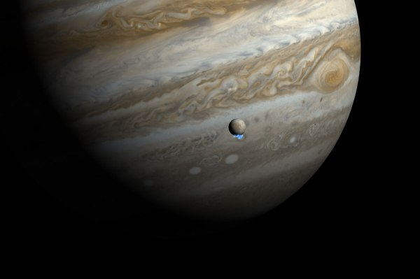 Rendering of Europa's vapor plumes, seen by Hubble UV observations (NASA, ESA, and M. Kornmesser)