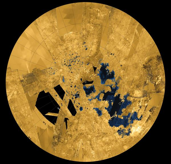colorized mosaic from NASA's Cassini mission shows the most complete view yet of Titan's northern land of lakes and seas. (NASA/JPL-Caltech/ASI/USGS)