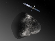 Artist's impression of the Rosetta orbiter deploying the Philae lander to comet 67P/Churyumov–Gerasimenko. (ESA–C. Carreau/ATG medialab.)