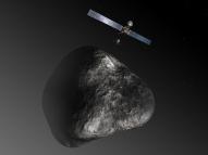 Artist's impression of the Rosetta orbiter deploying the Philae lander to comet 67P/Churyumov–Gerasimenko. (ESA–C. Carreau/ATG medialab.)