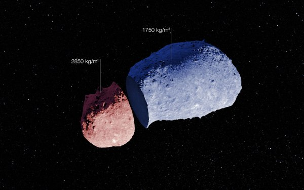 Schematic of the peanut-shaped asteroid Itokawa (ESO/JAXA)