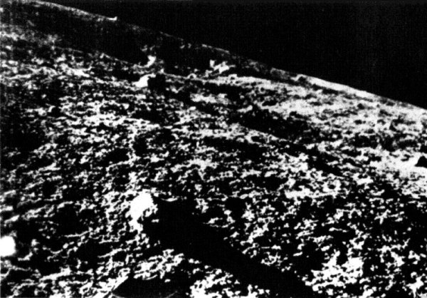 The first image from the lunar surface, taken by the Soviet Luna 9 in 1966