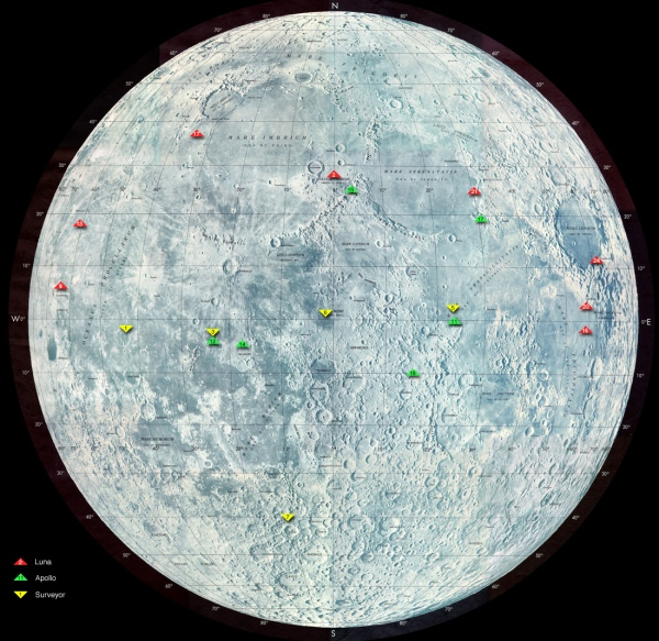 Locations of US and Soviet soft Moon landings