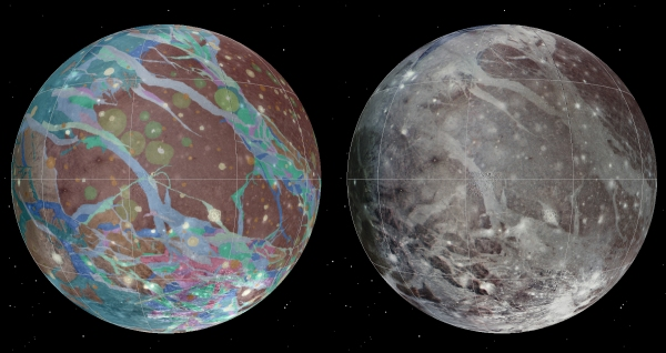 The first geologic map (left) of Jupiter's moon Ganymede