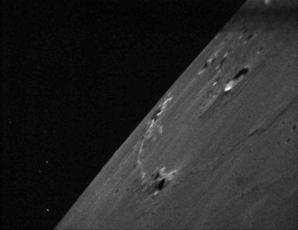 Image of the Moon and stars from NASA's LADEE spacecraft, Feb. 8, 2014 (NASA/Ames)